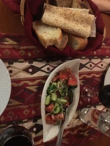 Fattoush salad and bread