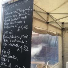 Crepe stand menu