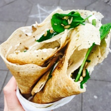 Salmon crepe with spinach and sunflower seeds